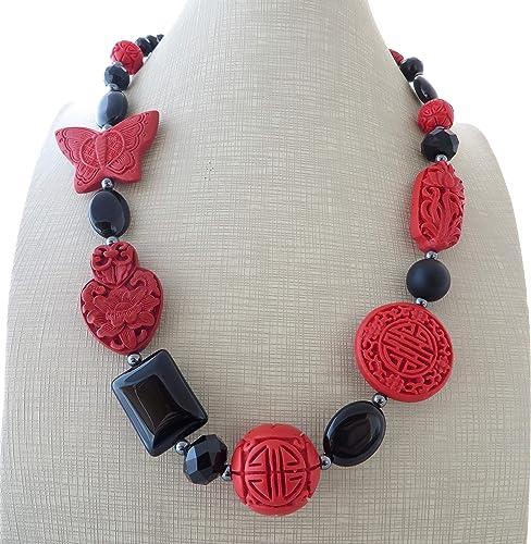 60db2090d5bb Collar de onix negro y cinabrio rojo