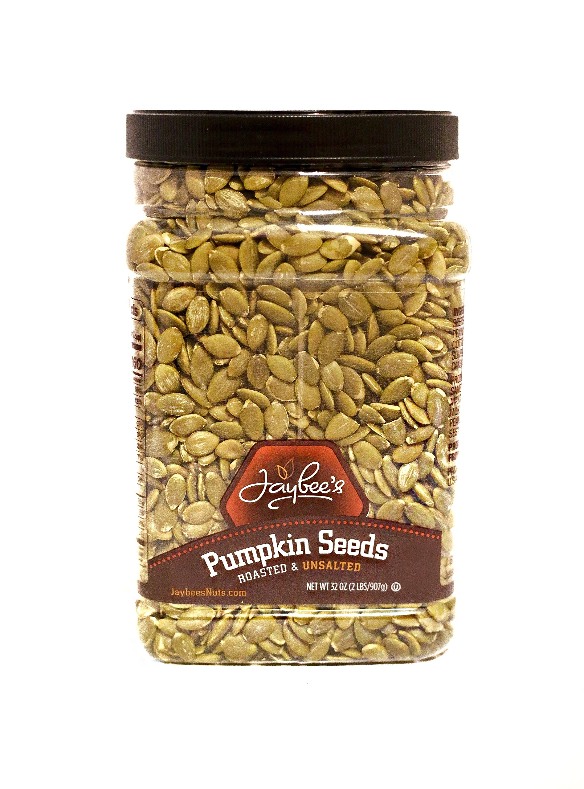 Jaybee's Nuts Pumpkin Seeds Pepitas - Roasted Unsalted (2 LBS) Fresh, Vegetarian Friendly & Kosher Certified -Great Healthy Everyday Snack - Reusable Container by Jaybee's Nuts