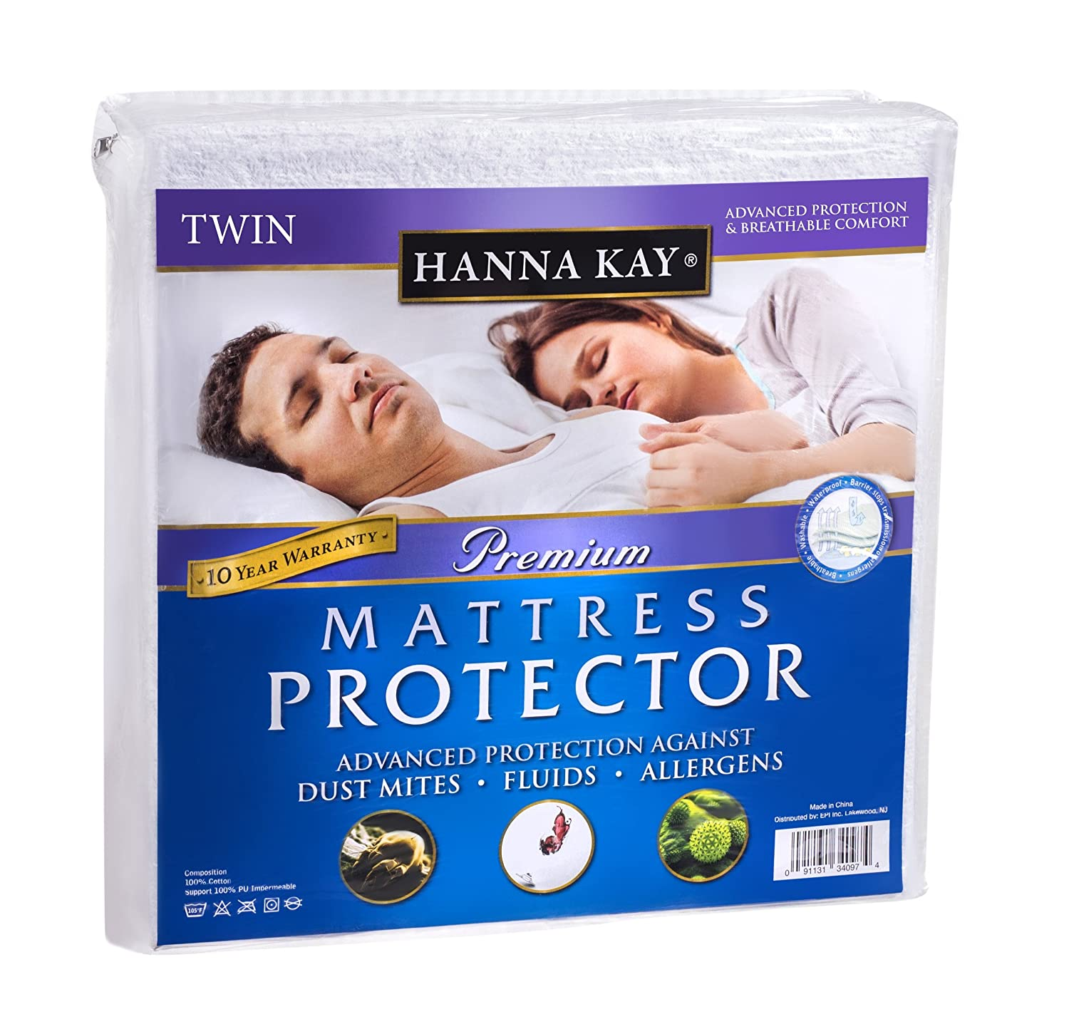 Hanna Kay Mattress Protector Waterproof Breathable and Hypoallergenic Twin Size B005DN664S  シングル