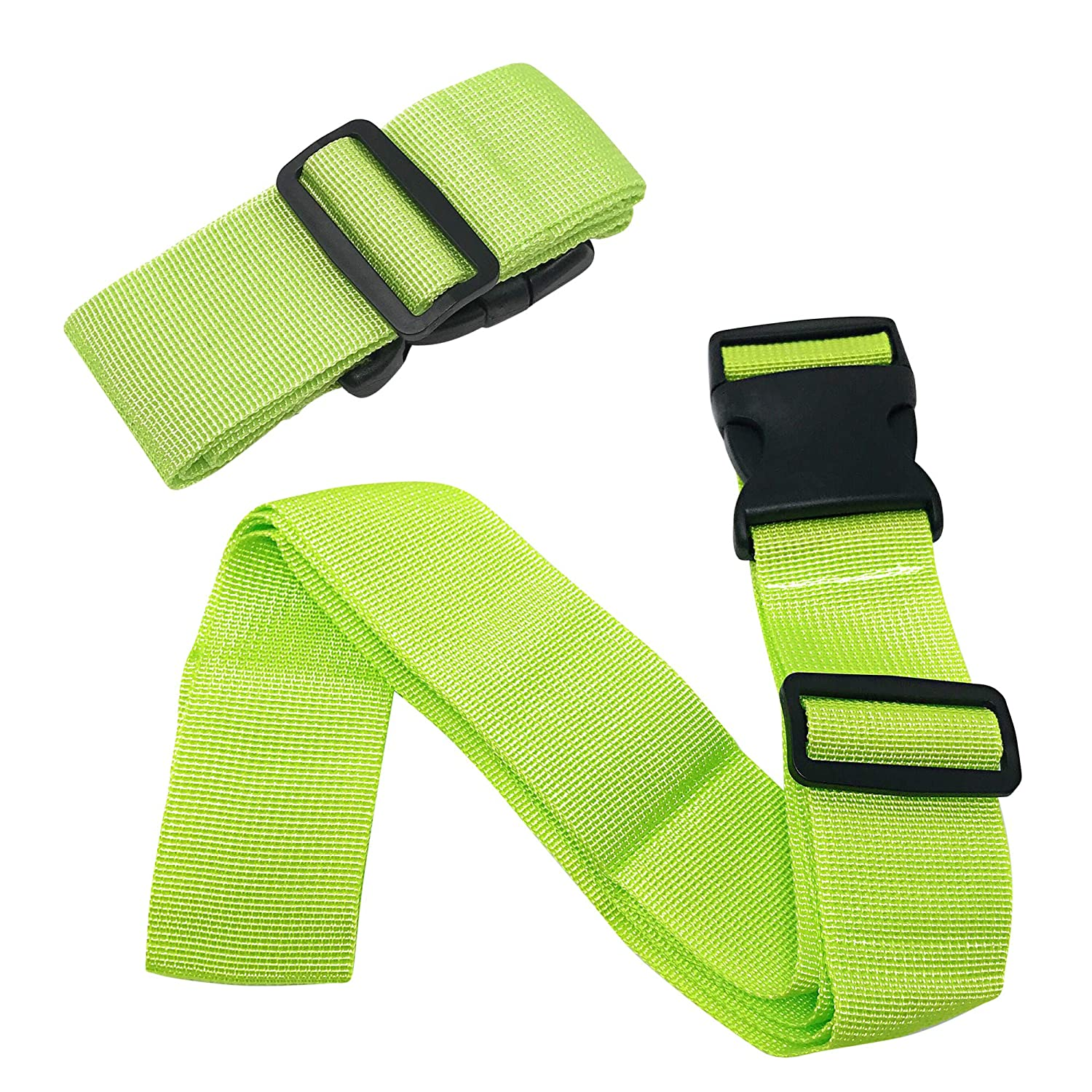 Rusoji Set of 2 Easy Adjustable Luggage Straps with Buckle Suitcase Handle Belts Travel Accessories Neon Green