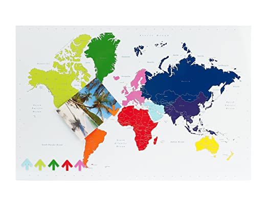 Pt magnetic steel world map memo board multi colour amazon pt magnetic steel world map memo board multi colour gumiabroncs Gallery