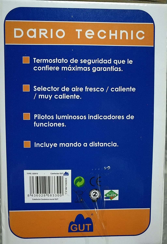 GUT Calefactor Dario Silver Technic GDC015: Amazon.es: Hogar