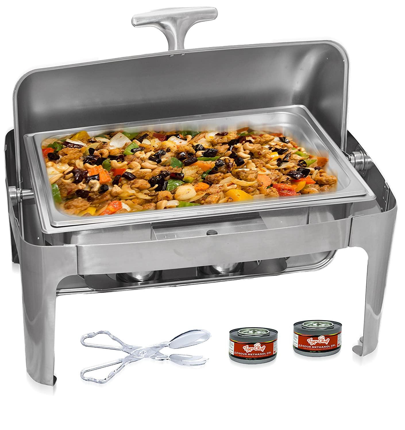 Tiger Chef Stainless Steel Roll Top Chafer, 8 Quart Chafing Dish Set with 2 Chafing Dish Fuel Gels and a 16-Inch Stainless Steel Multi-Function Tong by Tiger Chef