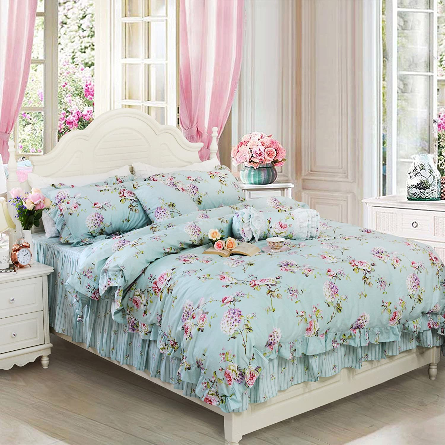 FADFAY Farmhouse Bedding Shabby Blue Floral Vintage Floral Print Duvet Cover Set Striped Bedspread Elegant French Country Style with Ruffle 4 Pcs King Size