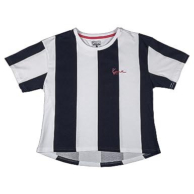 7f5b14d51fab Karl Kani Women T-Shirt Retro Stripe, Size:L, Color:Blue/White:  Amazon.co.uk: Clothing