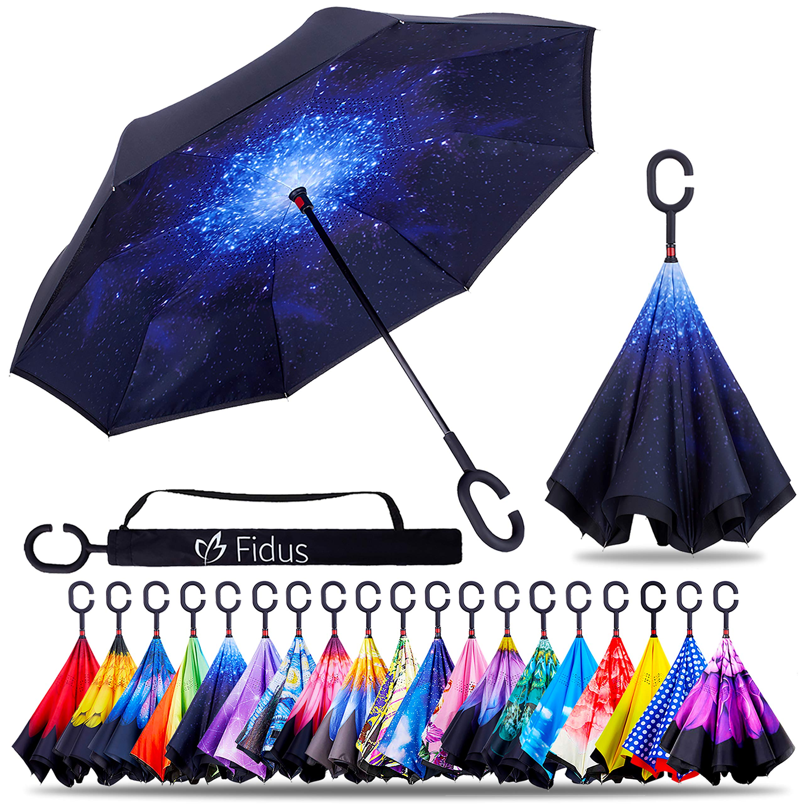 Fidus Double Layer Inverted Reverse Umbrella, Winproof Waterproof Folding UV Protection Self Stand Upside Down Large Car Rain Golf Outdoor Rain Umbrella with C-Shaped Handle for Men Women(Starry Sky)