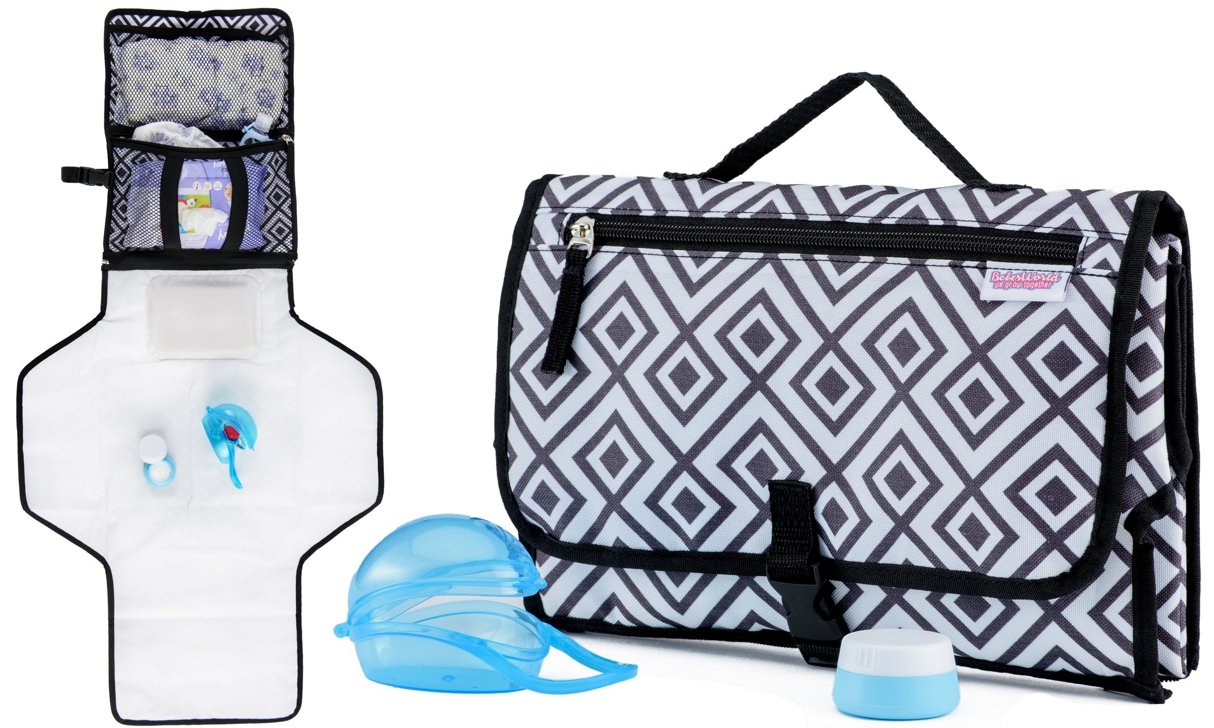 Portable Diaper Changing Pad with Soft Head Pillow | Bonus Pacifier Case & Silicone Baby Cream Container | Waterproof Change Pad | Travel Changing Station Kit | Diapers & Wipes Pockets | by BebesWorld
