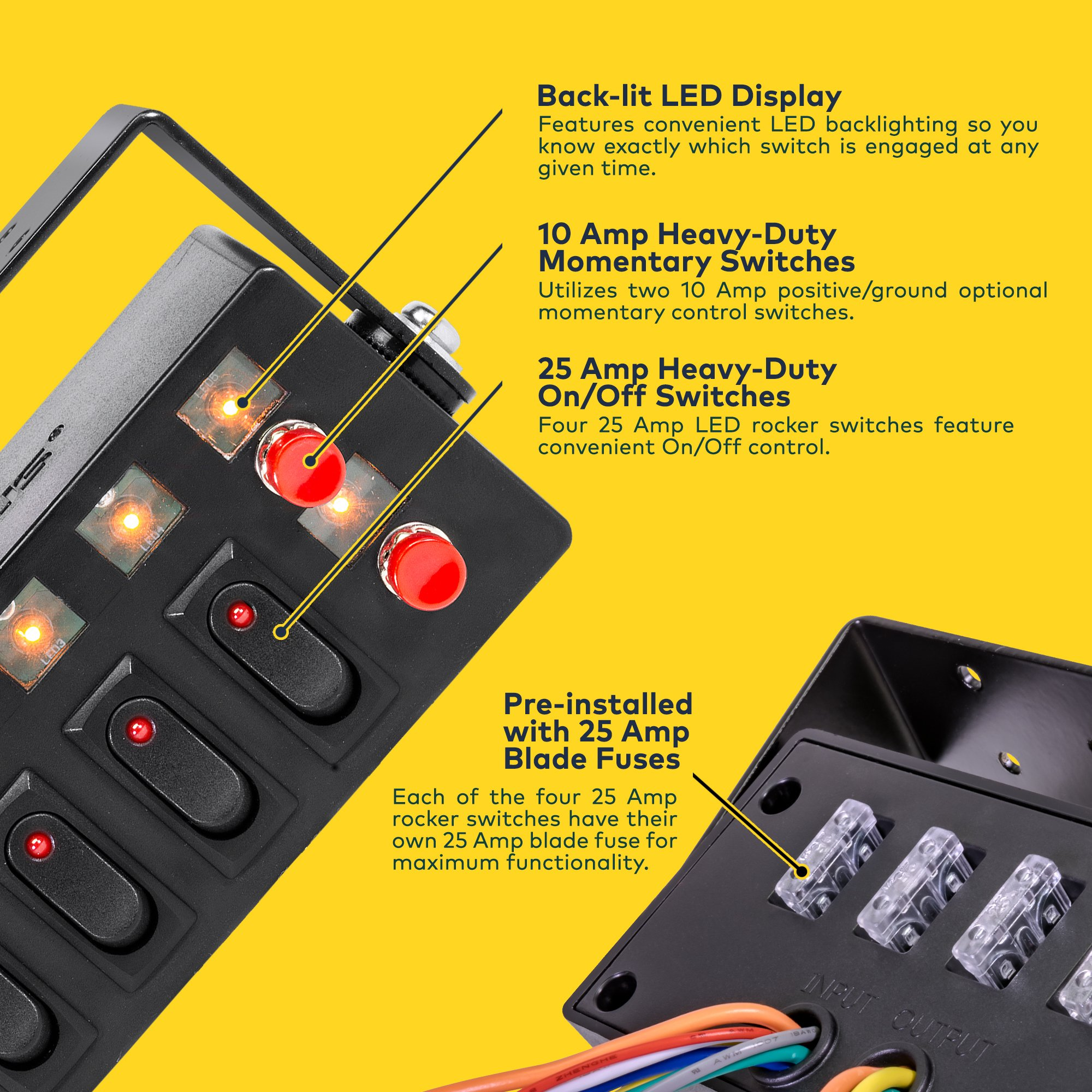 Lamphus Swbx42 Led Backlit Switch Box 4x 25a On Off Rocker Switches Fuse 2x Momentary Adjustable Swivel Bracket Perfect For Police Firefighter