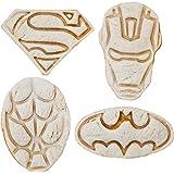 SUPERHERO MINI SANDWICHES - COOKIES CUTTERS Fun set of BATMAN, SUPERMAN, SPIDERMAN and IRON MAN. Perfect for Making Cookies, Mini Sandwiches, Shapped Cheese, Fruits, Ham and Bologna