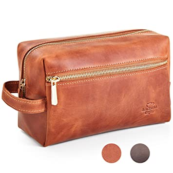 0996e4caa3d6 Amazon.com   Leather Toiletry Bag Dopp Kit by Rachiba - Mens Leather ...