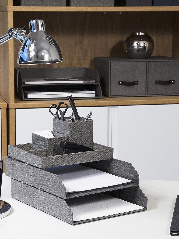 Ordnungssystem aus Faserplatte und Papier in Leinenoptik Bigso Box of Sweden Schreibtisch Organizer f/ür Stifte blau Sortierkasten mit 4 F/ächern B/üroklammern Haftnotizen usw