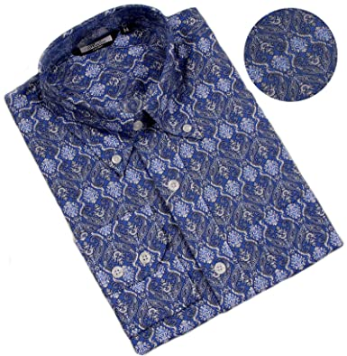 13e6f979ae5 Relco Mens Royal Blue Paisley Print Long Sleeve Shirt with Button Down  Collar New  Amazon.co.uk  Clothing