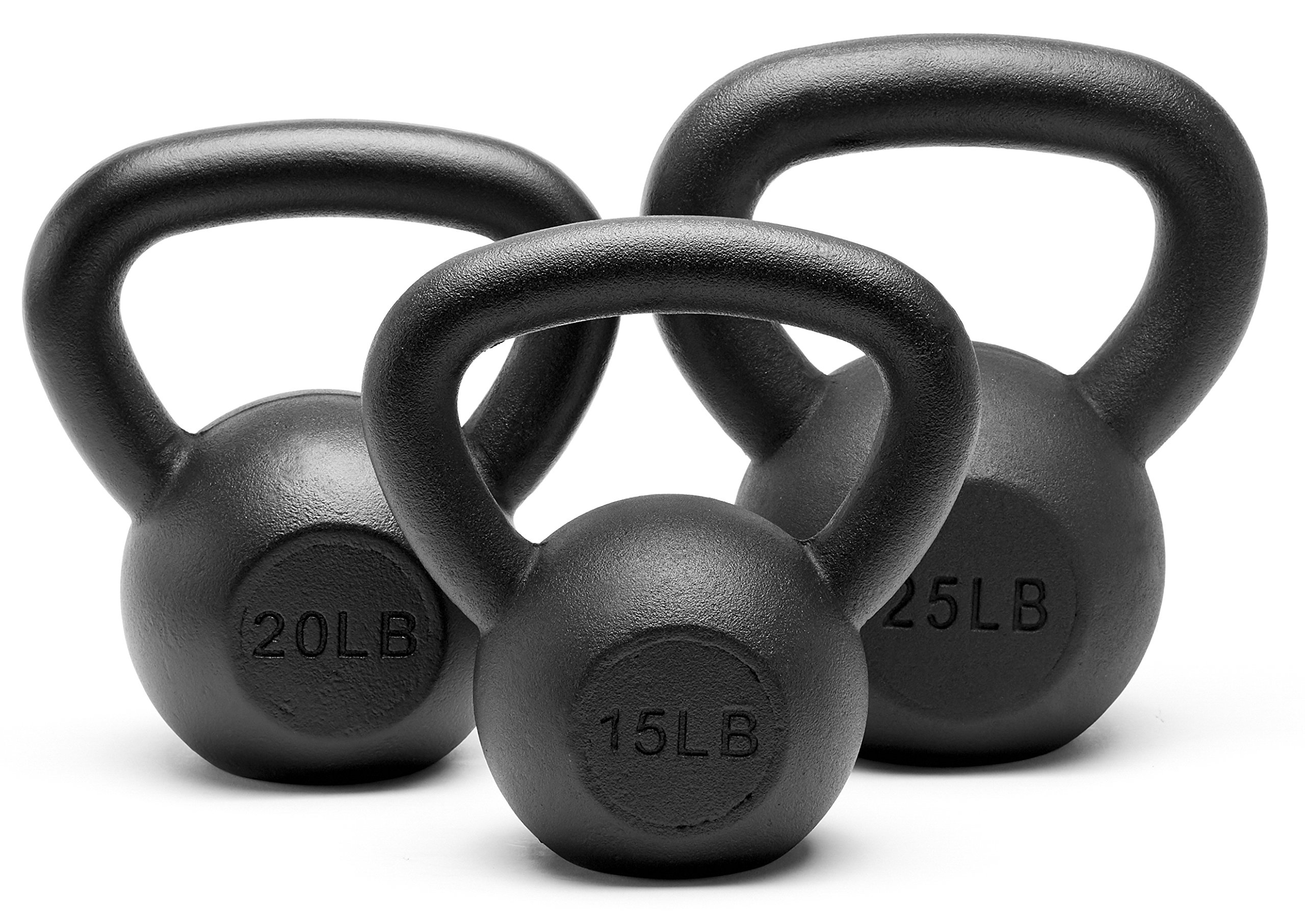 Unipack Powder Coated Solid Cast Iron Kettlebell Weights Set- (15+20+25lbs)