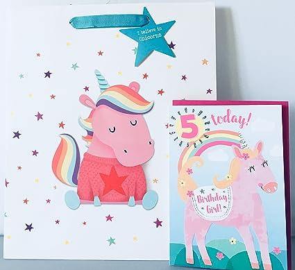 Unicorn - Tarjeta de felicitación de 5º cumpleaños, 5 años ...