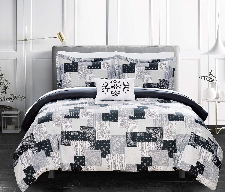 Chic Home Utopia 3 Piece Reversible Duvet Cover Set Patchwork Bohemian Paisley Print Design Bedding - Decorative Pillow Sham Included/XL, Twin, Black