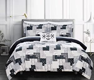 Chic Home Utopia 3 Piece Reversible Duvet Cover Set Patchwork Bohemian Paisley Print Design Bedding - Decorative Pillow Sham Included/XL, Twin, Black