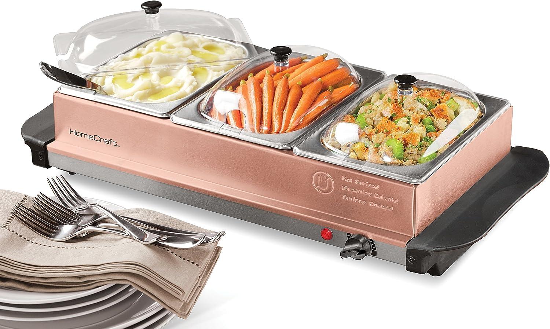 Amazon Com Homecraft 3 Station 1 5 Quart Buffet Server Warming Tray Copper Kitchen Dining