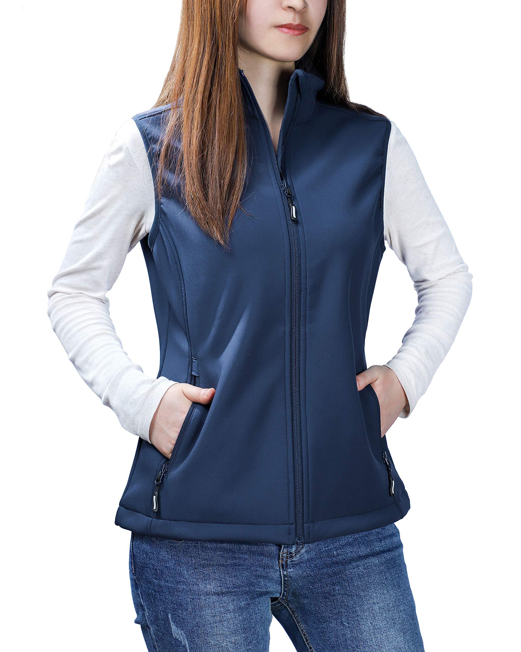 Outdoor Ventures Women's Mia Lightweight Sleeveless Fall Windproof Soft Bonded Fleece Softshell Zip Vest Navy by Outdoor Ventures