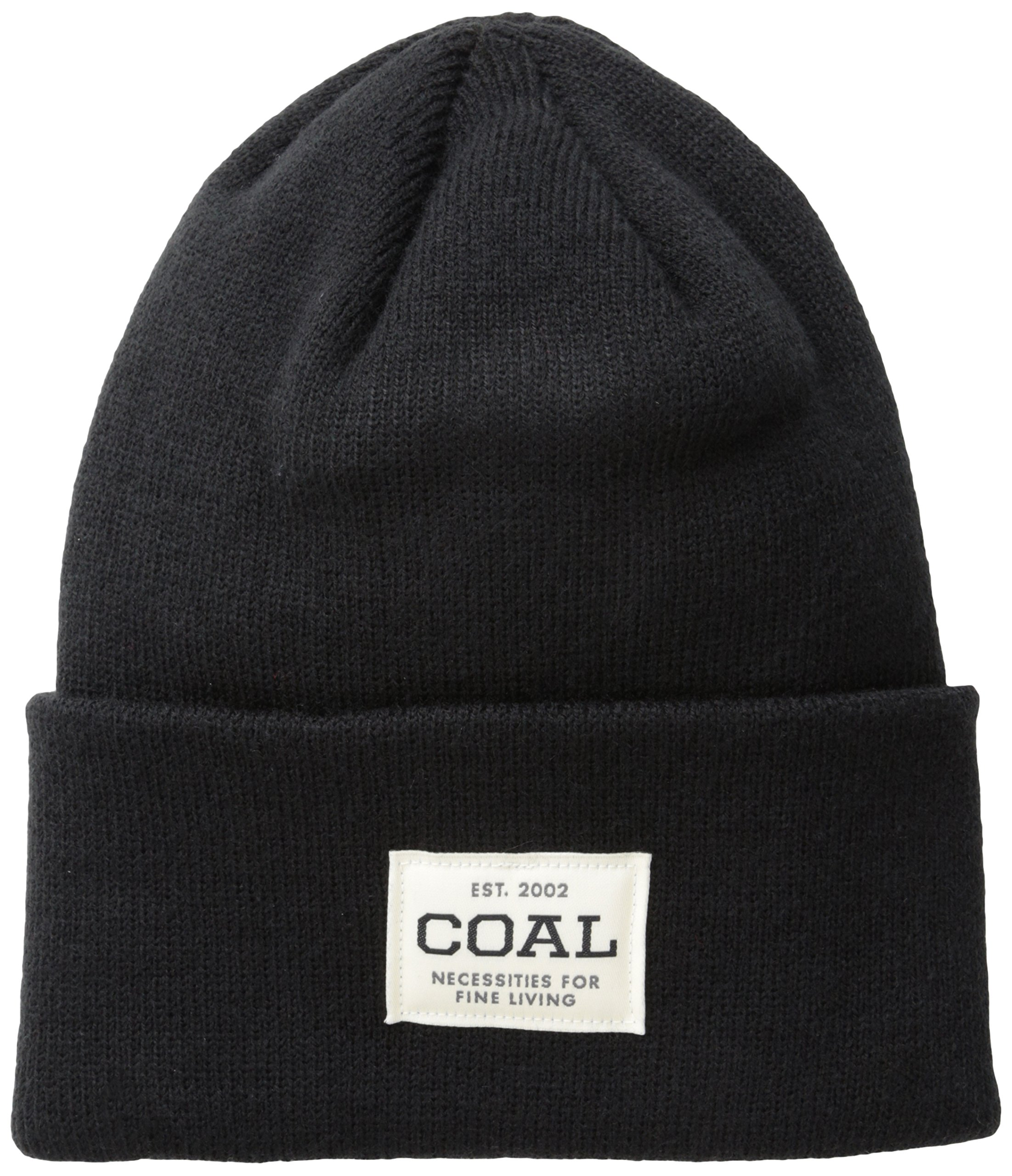 Coal Men's the Uniform Fine Knit Workwear Cuffed Beanie Hat, Solid Black, One Size