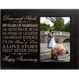 "Personalized twenty year anniversary gift for her him couple Custom Engraved 20th year wedding anniversary celebration frame holds 4x6 photo frame size 10"" w x 8"" h x 1/2"""