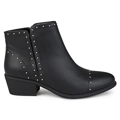 Brinley Co. Womens Ginny Faux Leather Stacked Heel Studded Ankle Boots | Ankle & Bootie