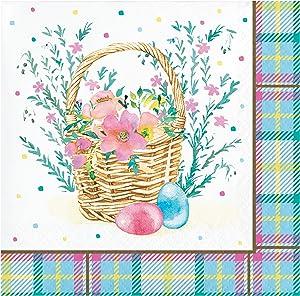 Creative Converting Easter Plaid Beverage Napkins, 5