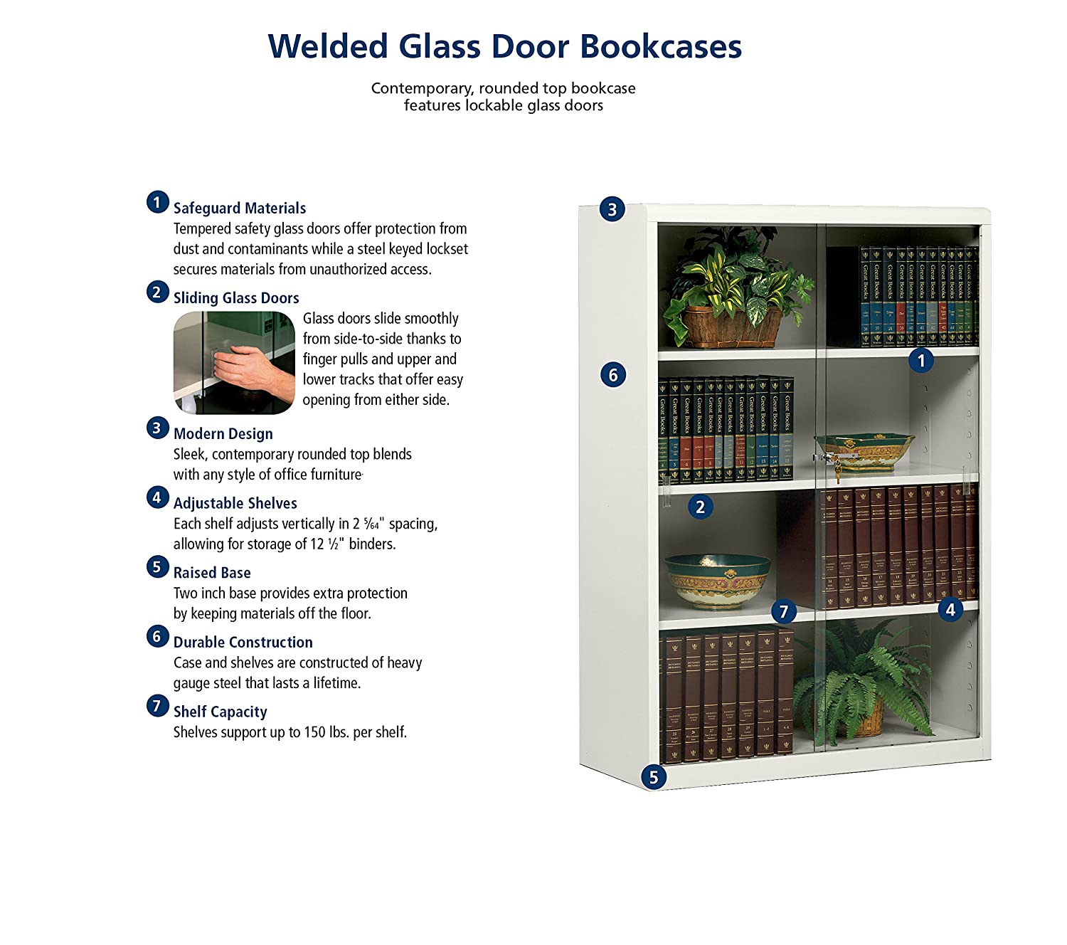 Tennsco 342GL Heavy Gauge Steel Executive Bookcase With Glass Doors And Lock 36 Width X 42 Height 15 Depth Black Science Lab Safety Storage