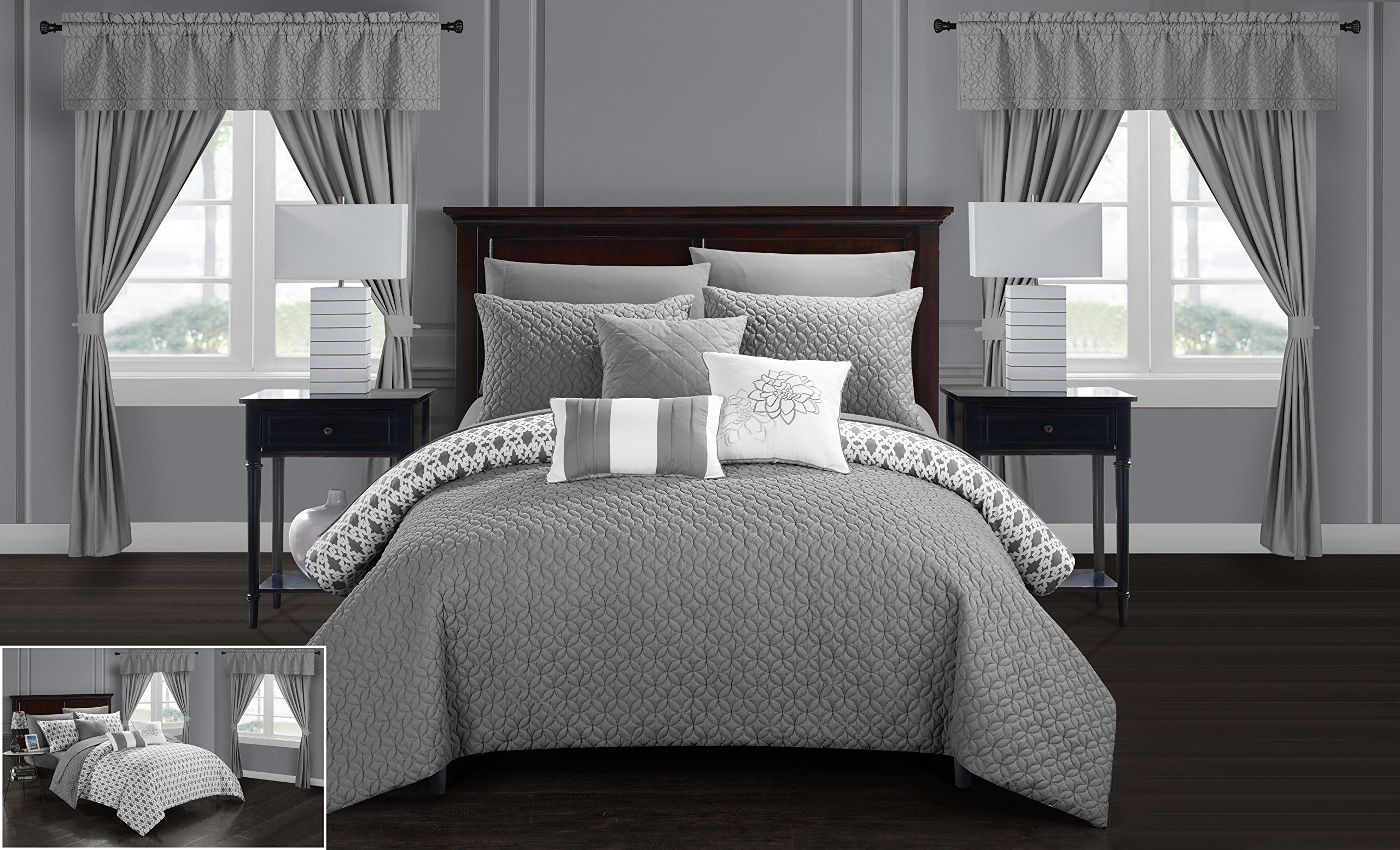 Chic Home Sigal 20 Piece Comforter Set Reversible Geometric Quilted Design Complete Bed in a Bag Bedding – Sheets Decorative Pillows Shams Window Treatments Curtains Included, King Grey