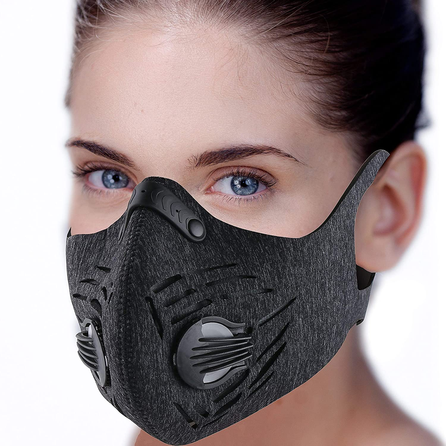 Dust Mask, RooRuns Dustproof Mask (with Ear-loop) Activated Carbon Filtration Exhaust Anti Pollen Allergy PM2.5 Dust-proof Mask for Running, Woodworking, House Cleaning, Gardening and Other Activities RRMask2G