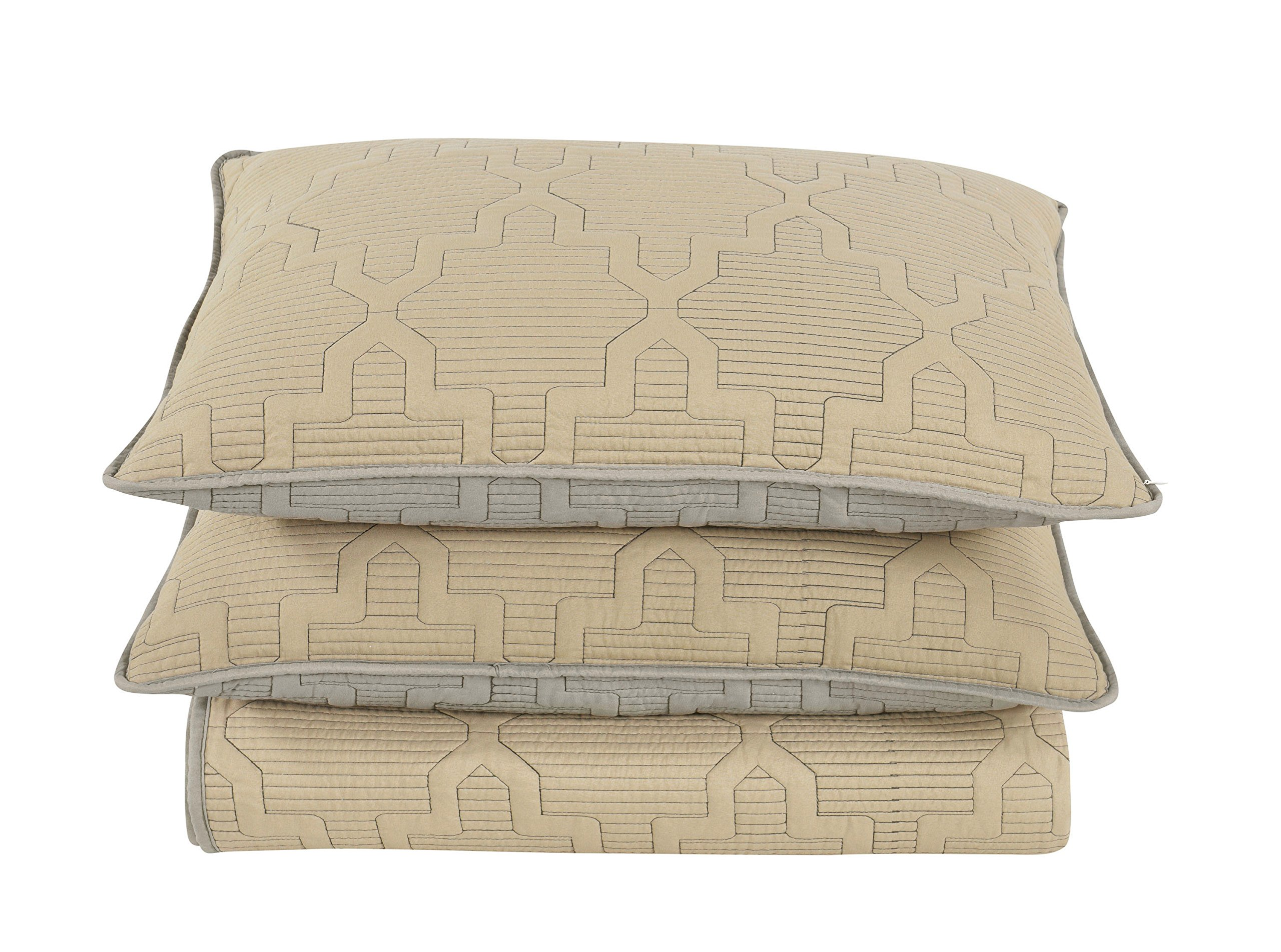 Brielle Casablanca, Reversible  Quilt Set, Twin, Grey/Linen - LinensNow and Amazon are the only authorized sellers of Brille Home products on this site. Please avoid other sellers for the GENUINE article. True reversible- elegant embroidery design on both sides Twin quilt measures 68 by 86 inches; standard pillow sham measures 20 by 26 inches - living-room-soft-furnishings, living-room, decorative-pillows - 91OSuo1S12L -