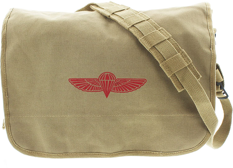 Army Universe Khaki Retro Heavy Duty Canvas Israeli Paratrooper Messenger Bag Pin