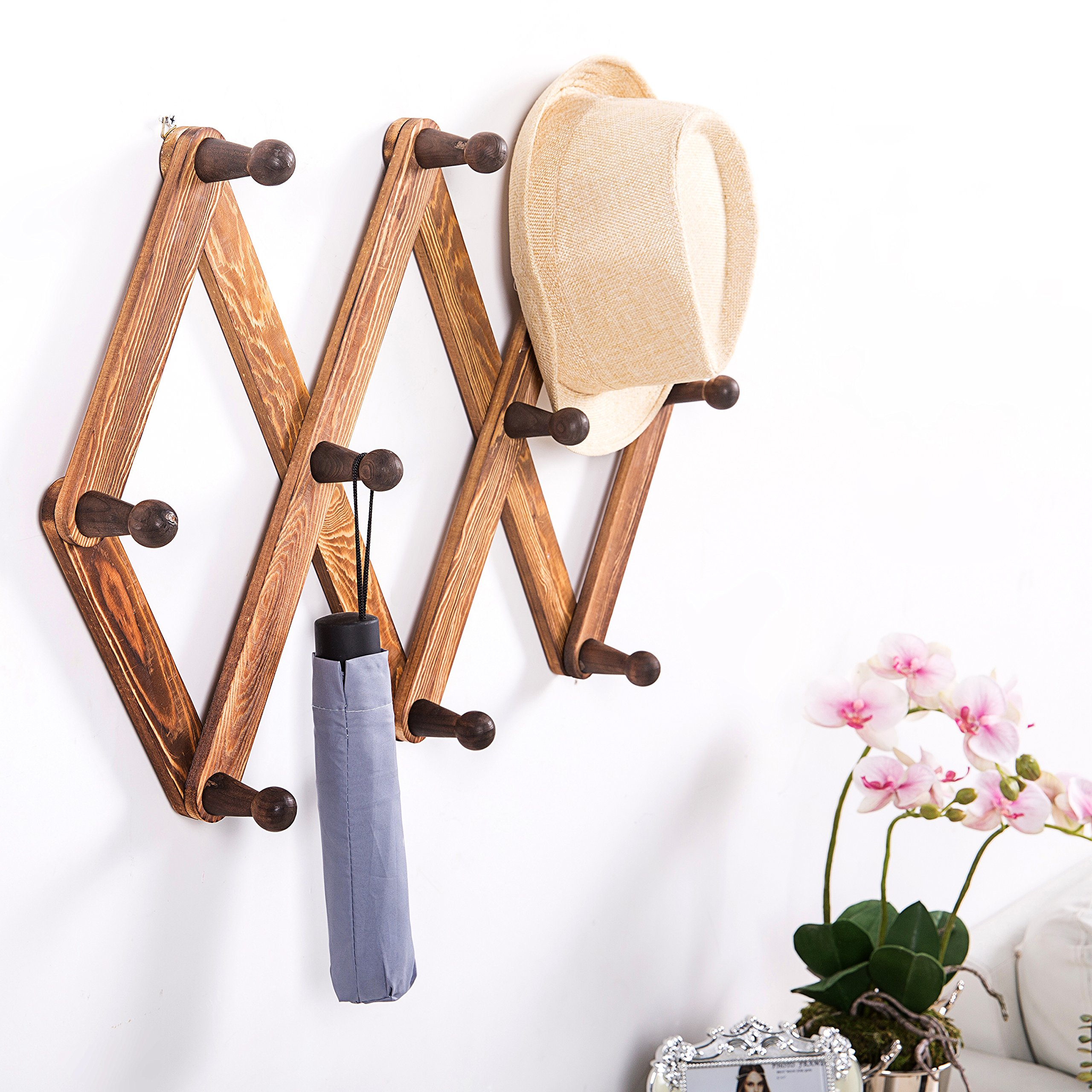 MyGift 10 Hook Torched Wood Wall Mounted Expandable Accordion Peg Coat Rack Hanger by MyGift (Image #2)