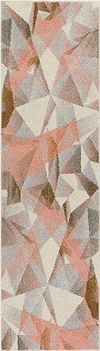 HomeWay Dash Pink 2 3 x 7 3 Runner Mid-century Modern shaded pattern soft Rug modern Velvety bright soft Area Rug