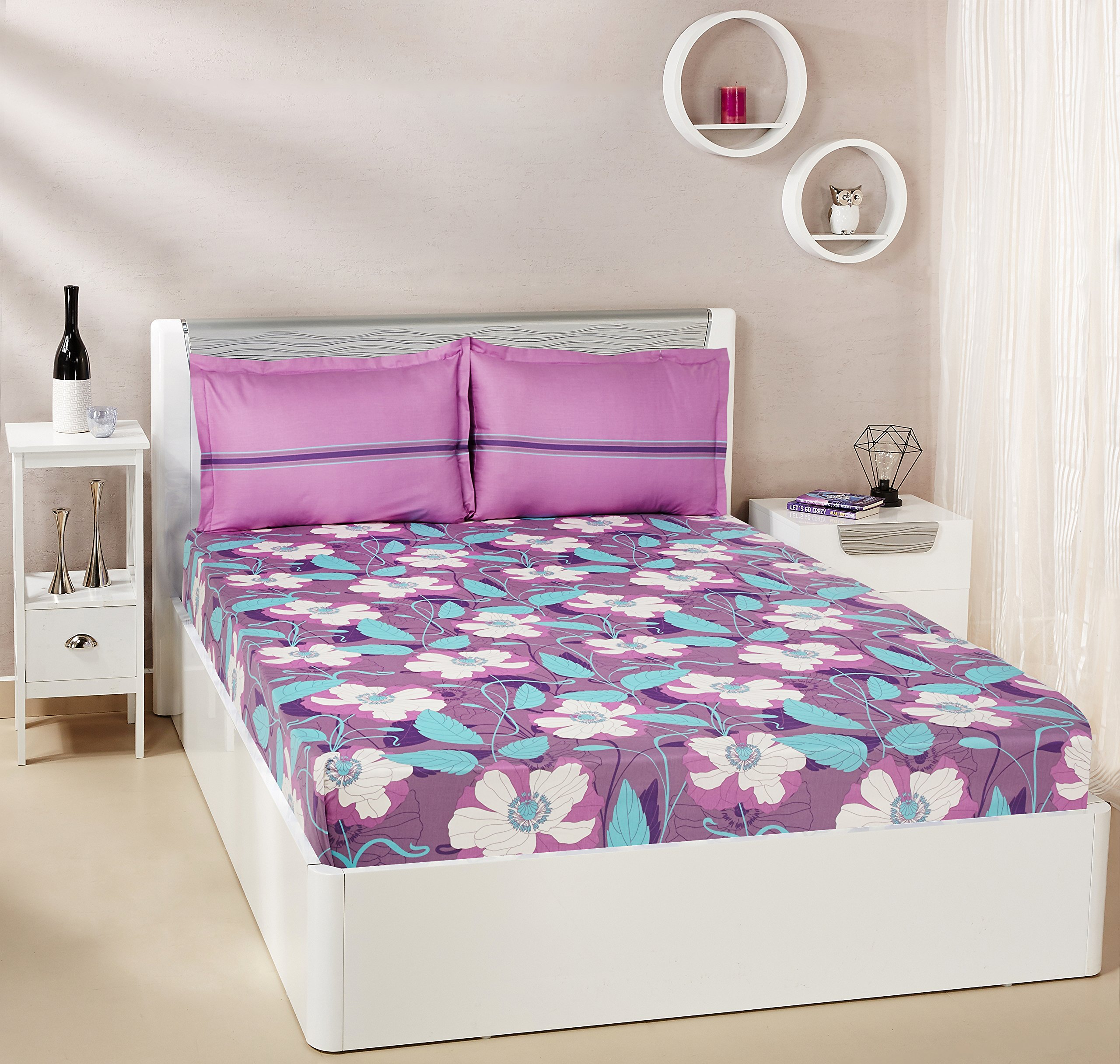 Amazon Brand - Solimo Floral Swirls 144 TC 100% Cotton Double Bedsheet with 2 Pillow Covers, Purple product image
