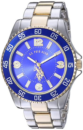 Image result for U.S. Polo Assn. Men's Two-Toned, Royal Blue Dial, Automatic Quartz Metal/Alloy Fold-Over-Clasp Watch - USC80514