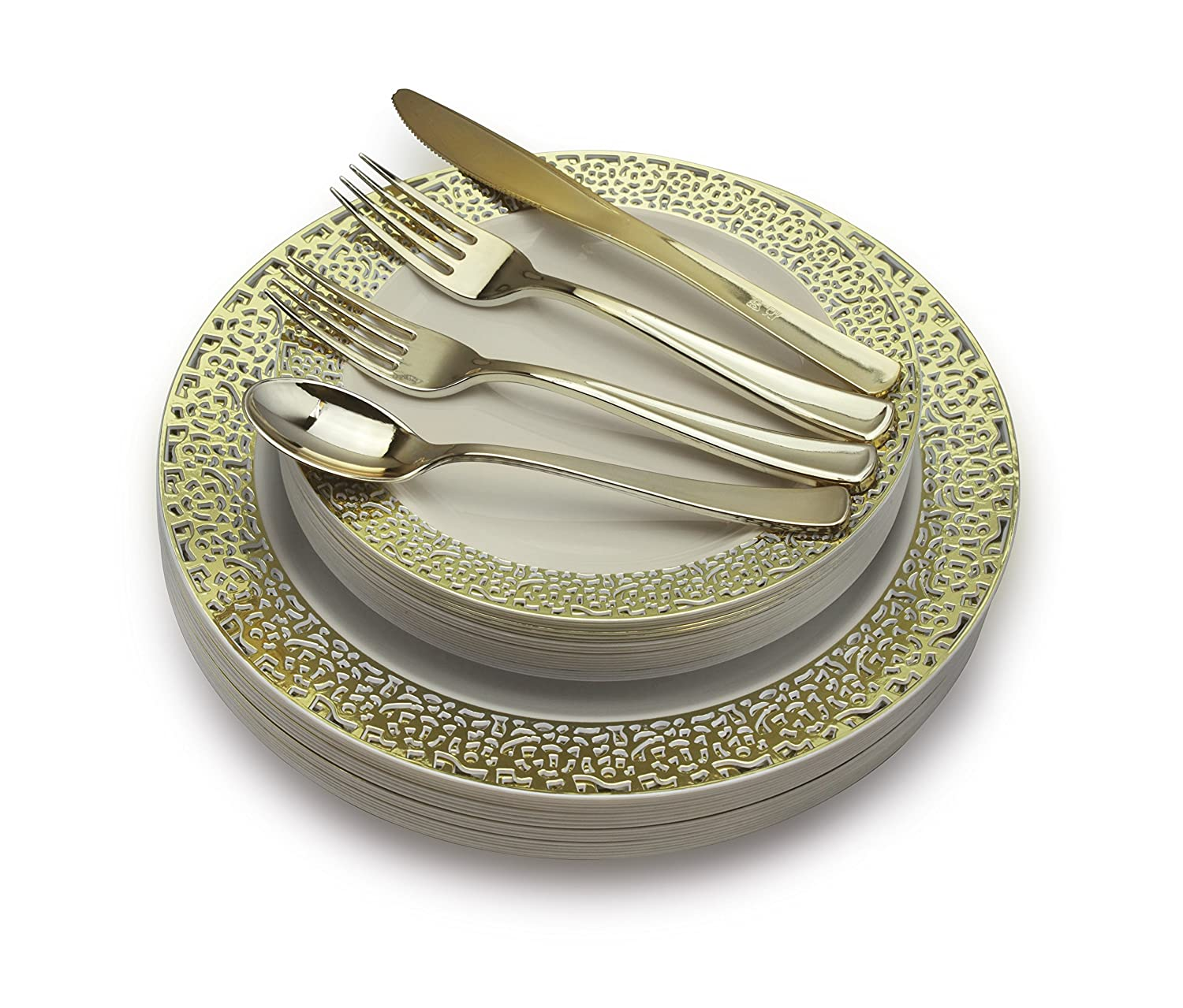 """"""" OCCASIONS"""" 360 PCS / 60 GUEST Wedding Disposable Plastic Plate and Silverware Combo Set (Celebration white/gold Plates, Gold Silverware)"""