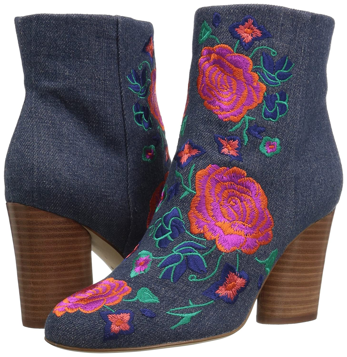 The Fix Women's Nash Floral Embroidery Oval Heel Ankle Bootie B01MZF94TC 8.5 B(M) US|Indigo