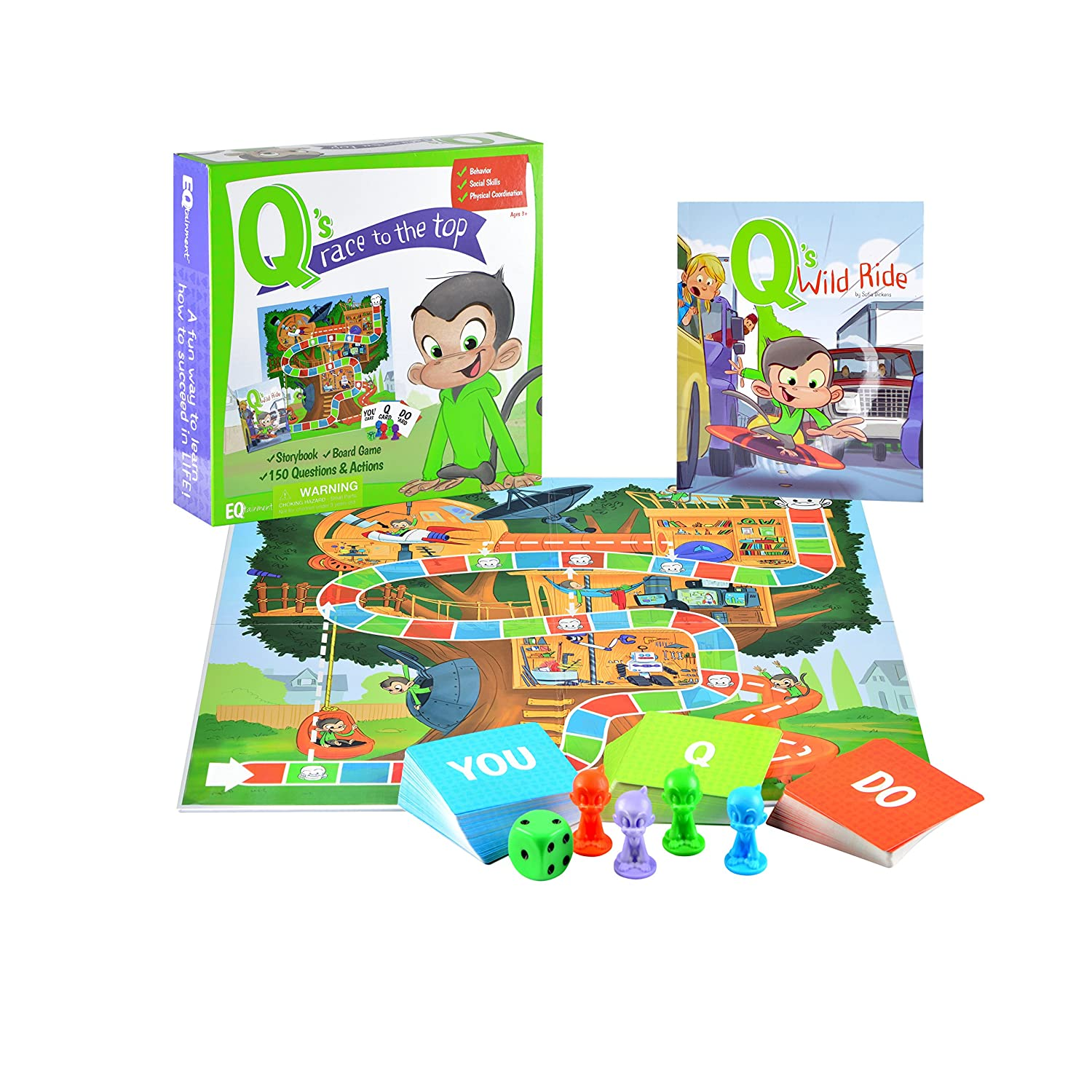 Q's Race to the Top Educational Board Game with Book: social skills, manners, and better behavior by EQtainment