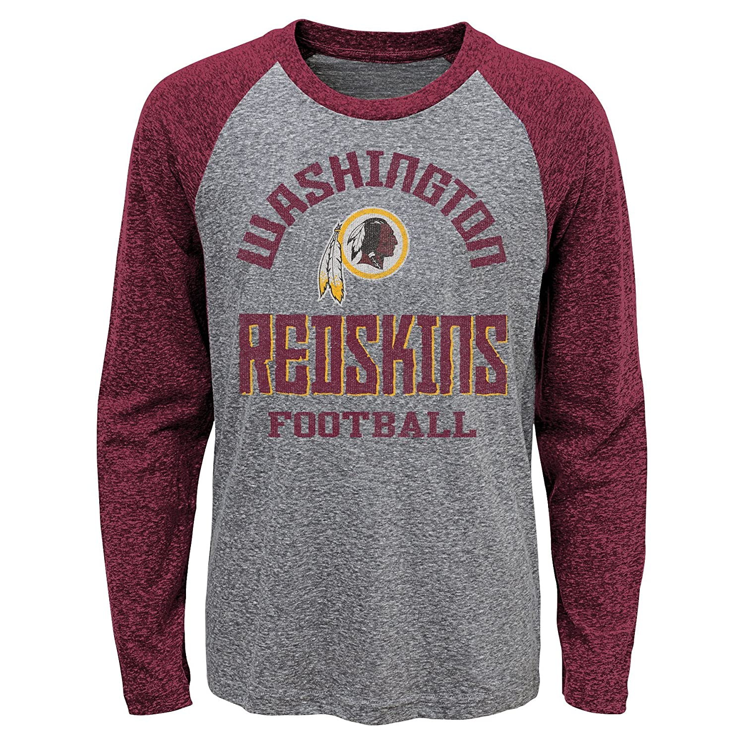 Outerstuff NFL Washington Redskins Kids Classic Gridiron Long Sleeve Raglan Tee Dark Grey Heather Kids Large 7