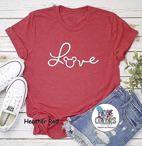 c4aeb1e63 Mickey Mouse Love T-Shirt - Disney Love T Shirt. Cool T Shirt. Disney Trip  Shirt - Graphic Tees - Women's - Unisex - Valentine's Day Gift -  Galentine's Day