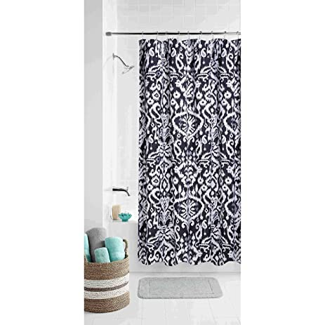 Black Modern Ikat Shower Curtain