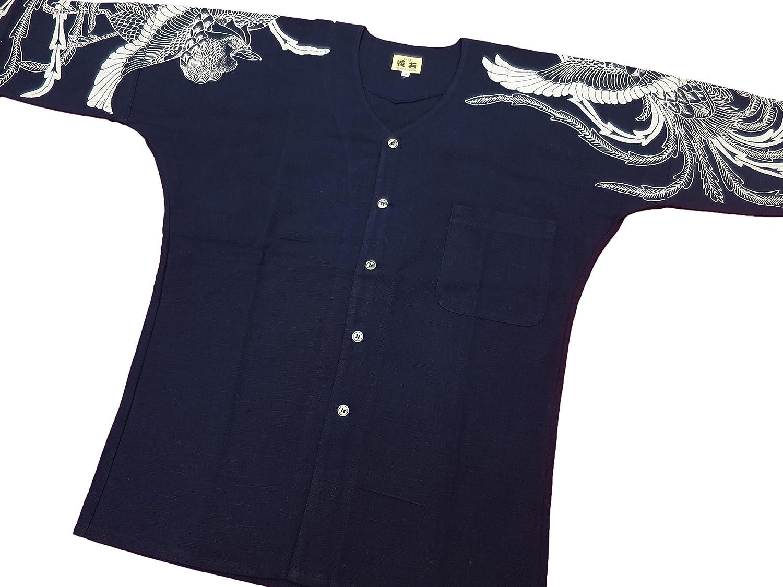 【綿紬に銀彩鳳凰・紺に銀】 義若オリジナルの鯉口シャツ単品 男女兼用