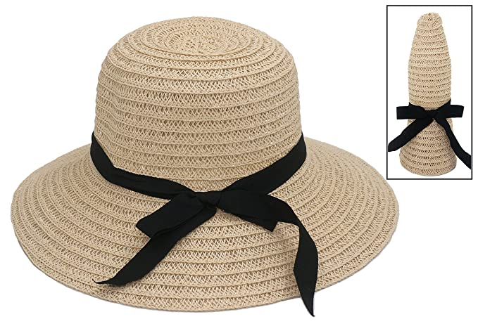 8329b21be27 Roffatide Women s Straw Woven Foldable Summer Beach Sun Hat Bucket Cap with  Bow Beige