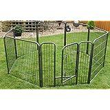 raygar heavy duty 8 panels enclosure dog pet cat pen cage puppy play fence run medium