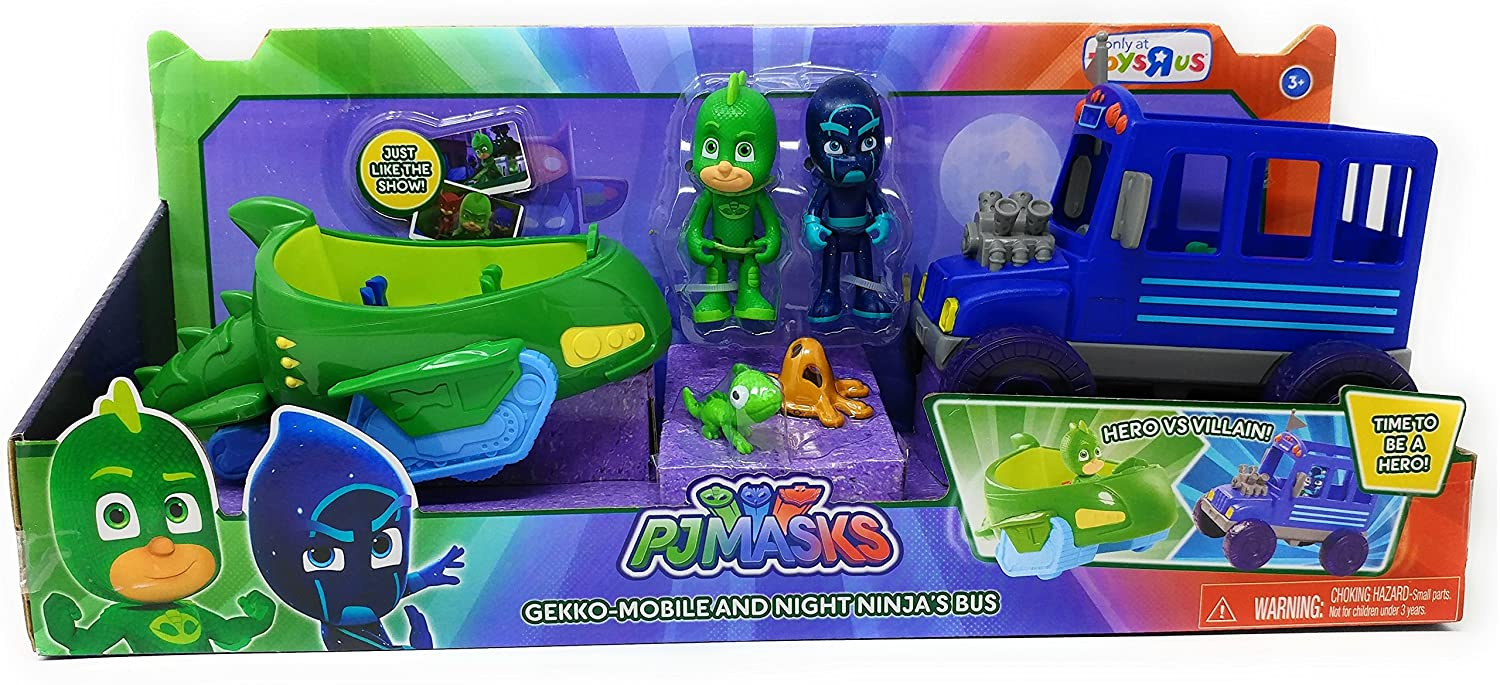 Amazon.com: EXCLUSIVE PJ Masks - Gekko Mobile and Night Ninjas Bus Vehicle Set - Set Comes with both Gekko and his Gekko-Mobile and Night Ninja and his ...