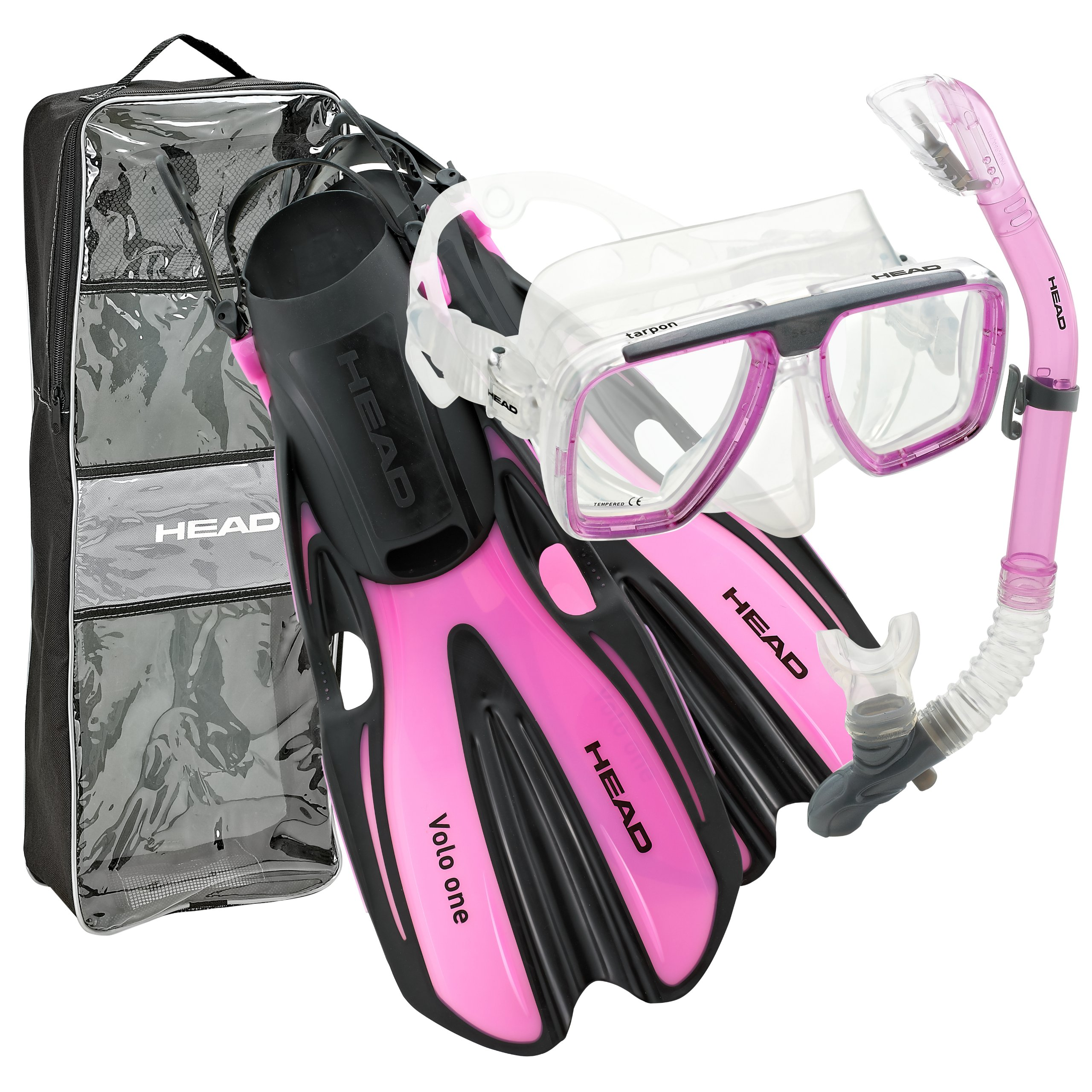 HEAD by Mares Tarpon Travel Friendly Premium Mask Fin Snorkel Set, Pink, Small, (4-6)