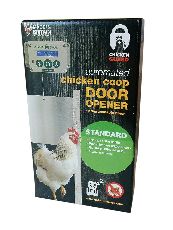 Chicken Coop Accessories by ChickenGuard Standard Automatic Chicken Coop Pop Door Opener Lifts up to 2 lbs Timer Only Outdoor//Indoor Auto Door Opener