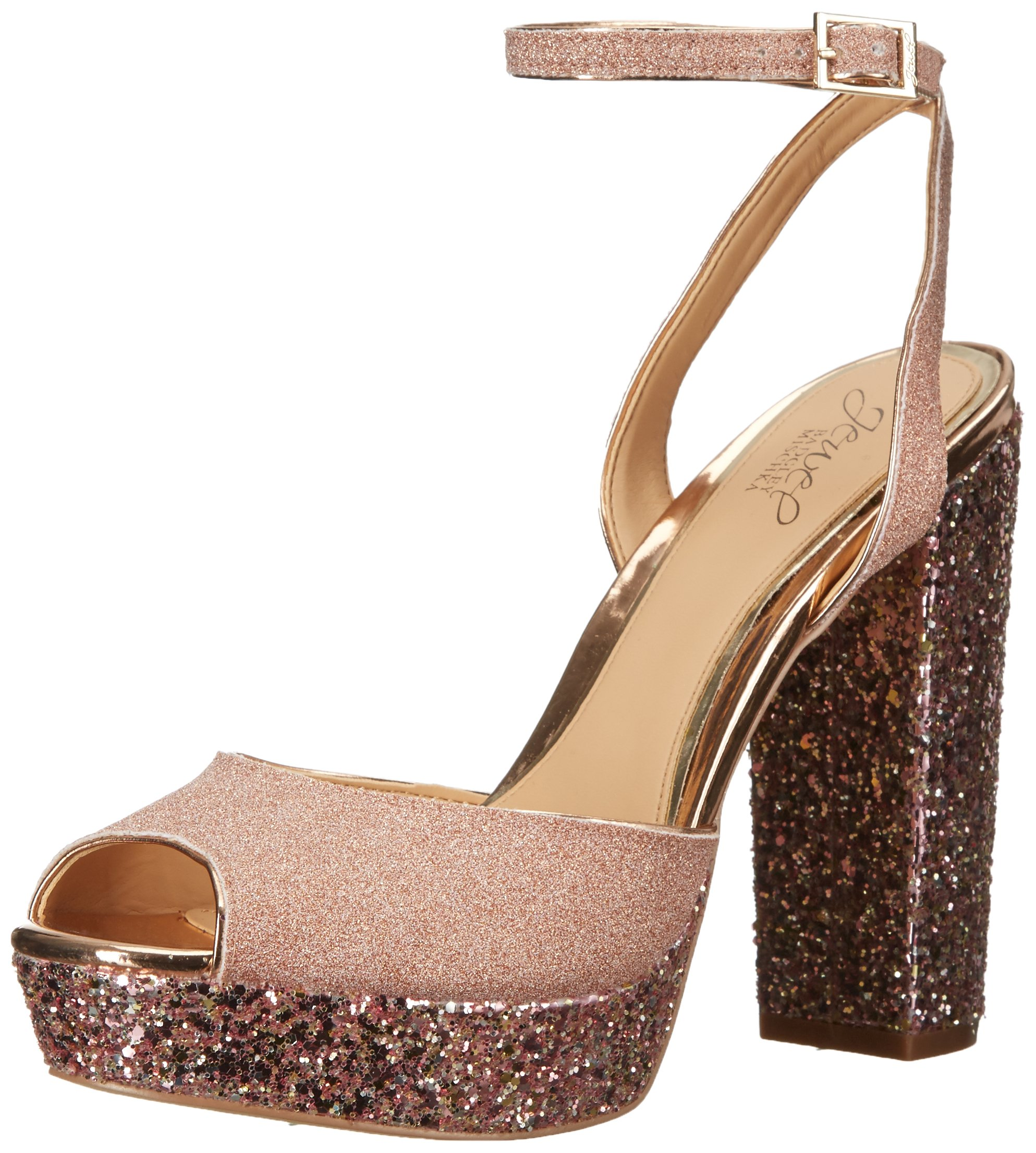 Jewel Badgley Mischka Women's Luke Heeled Sandal, Rose Gold, 8 Medium US