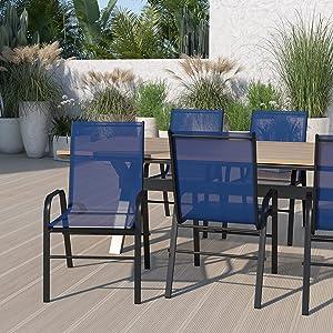 Flash Furniture 5-JJ-303C-NV-GG Metal Patio Chairs, 5 Pack, Navy