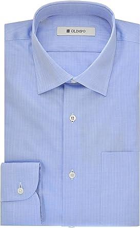 OLIMPO - Camisa de manga larga de hombre de algodón 100%, talla : 44: Amazon.es: Ropa y accesorios